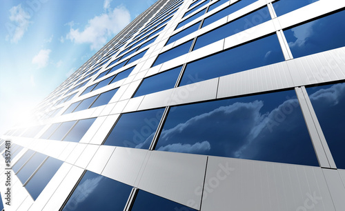 Photo Office building on a background of the blue sky