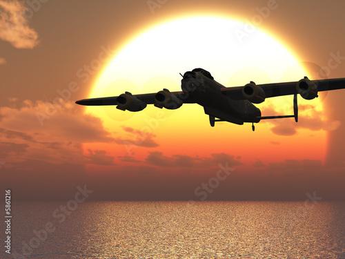 Lancaster heavy bomber sunset Illustration Wallpaper Mural
