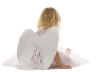 Little Girl Wearily Sitting In White Dress And Angel Wings