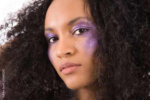 Fototapety, obrazy: Beautiful girl with purple eyeshadow and wild hair