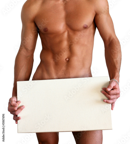 Fotomural Naked muscular man covering with a box isolated on white