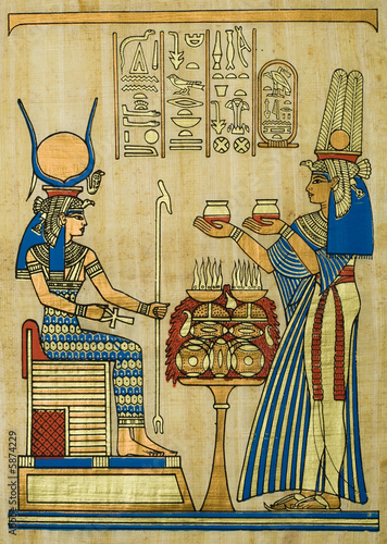 Tuinposter Egypte Egyptian papyrus with ceremonial ornament