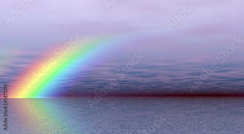 Printed kitchen splashbacks Purple Wonderful rainbow over the sea
