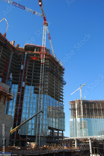 Poster Palm tree over view of condominium / hotel construction site 4