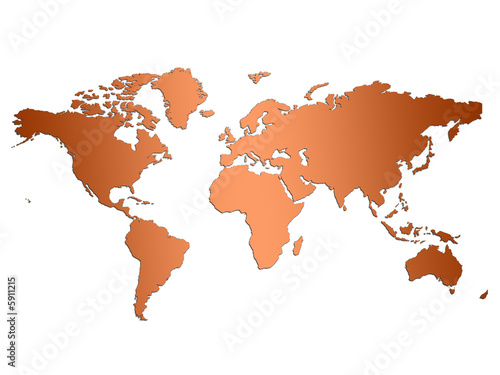 Brown world map on simple white background buy this stock brown world map on simple white background gumiabroncs Image collections