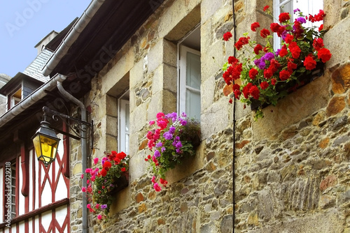 Traditional french houses and streets in the town of treguier.