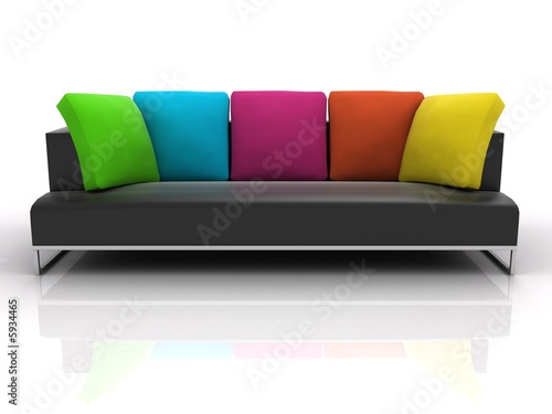 Obraz Black sofa with colour pillows on white background  - fototapety do salonu