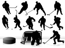 Vector Hockey Players Silhouet...