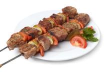 Weal Kebab On Skewers, Isolate...