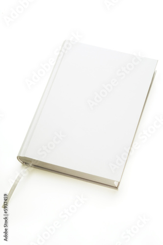 Valokuva  a white hard covered book on white background
