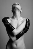 nude elegant girl with the gloves Studio fashion photo