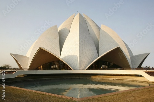 Garden Poster Lotus flower lotus temple in the evening sky, delhi, india