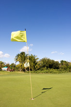 Yellow Flag On Golfing Green Casting A Shadow