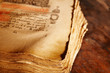 canvas print picture - Ancient book, shallow depth of field