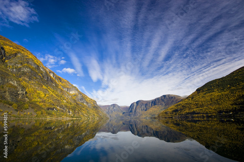 Moutains with reflexion in the water - Fjor in Flam/Norway