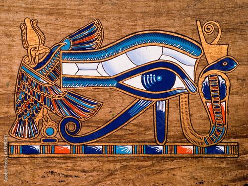 In de dag Egypte Egyptian papyrus, Horus Eye