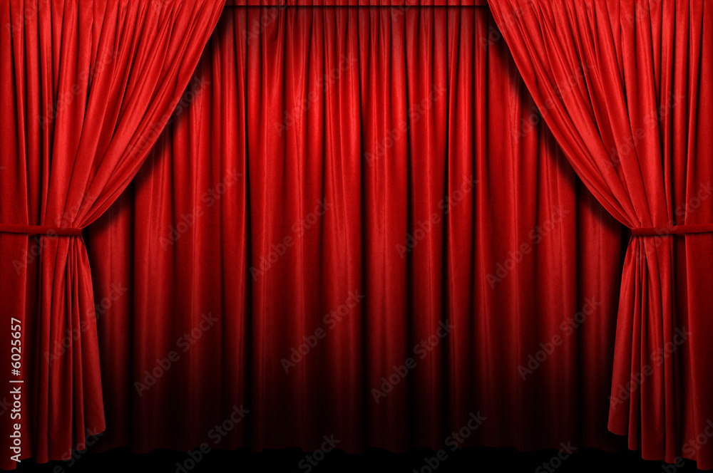 Fototapeta Red stage curtain with arch entrance