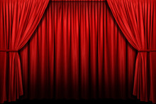 Red Stage Curtain With Arch En...