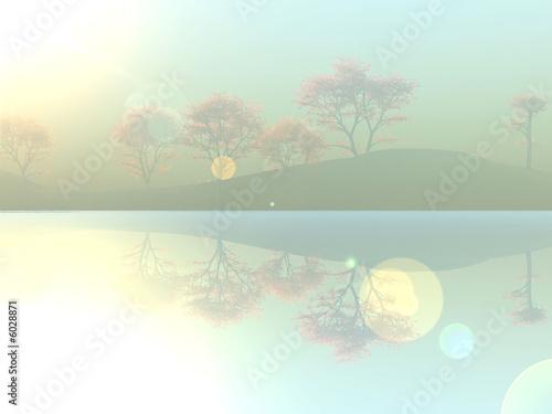 Photo sur Toile Bleu clair arbre dans la brume