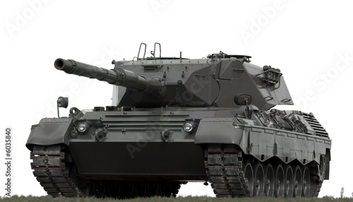 Leopard Military Tank on White Fotobehang