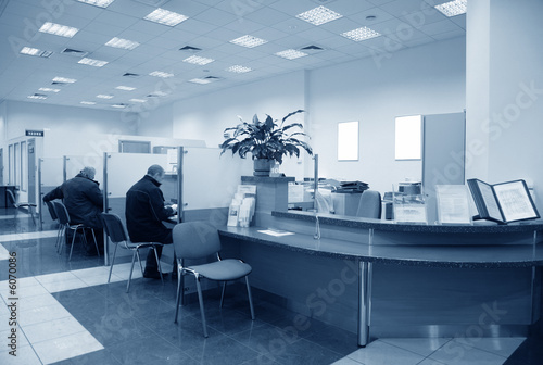 Fototapeta bank office blue obraz
