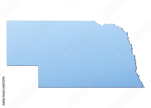 Nebraska Usa Map Filled With Light Blue Gradient Buy This Stock
