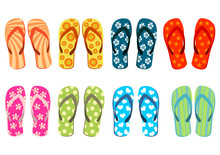 Beach Sandals. Colorful Flip-f...