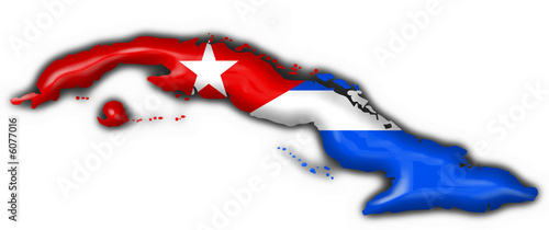 Fotografie, Obraz  cuba button flag map shape