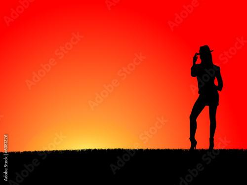 Fotografía Girl at sunset