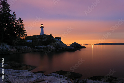 Photo sur Toile Phare point atkinson lighthouse in twilight