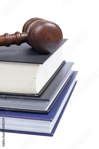 Fotografija  Gavel and law books isolated on white background. Shallow DOF
