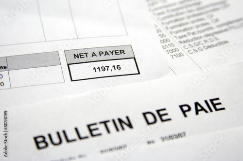 Fototapeta Rémunération, salaire et bulletin de paie