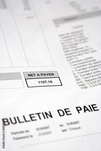 Fotografie, Obraz Rémunération, salaire et bulletin de paie