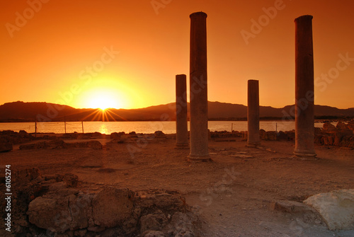 Garden Poster Brown Sunset and pilars of ruins on Sardinian town of Nora