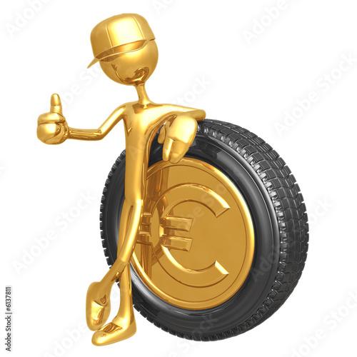 Fotografie, Obraz  Euro Gold Coin Hubcap