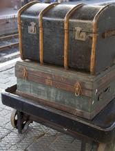 Old Luggage On Station Platform