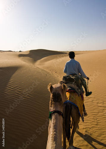Fotografering  First person view of a camel riding experience in Thar desert