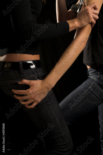 Fototapety, obrazy: Two sexy girl pose. Jeans and hands