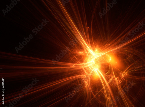 Fotografie, Obraz  Abstract red fractal lake an energy explosion.