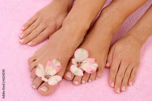 Poster Pedicure close-ups of beautiful female legs and hands - beauty treatment