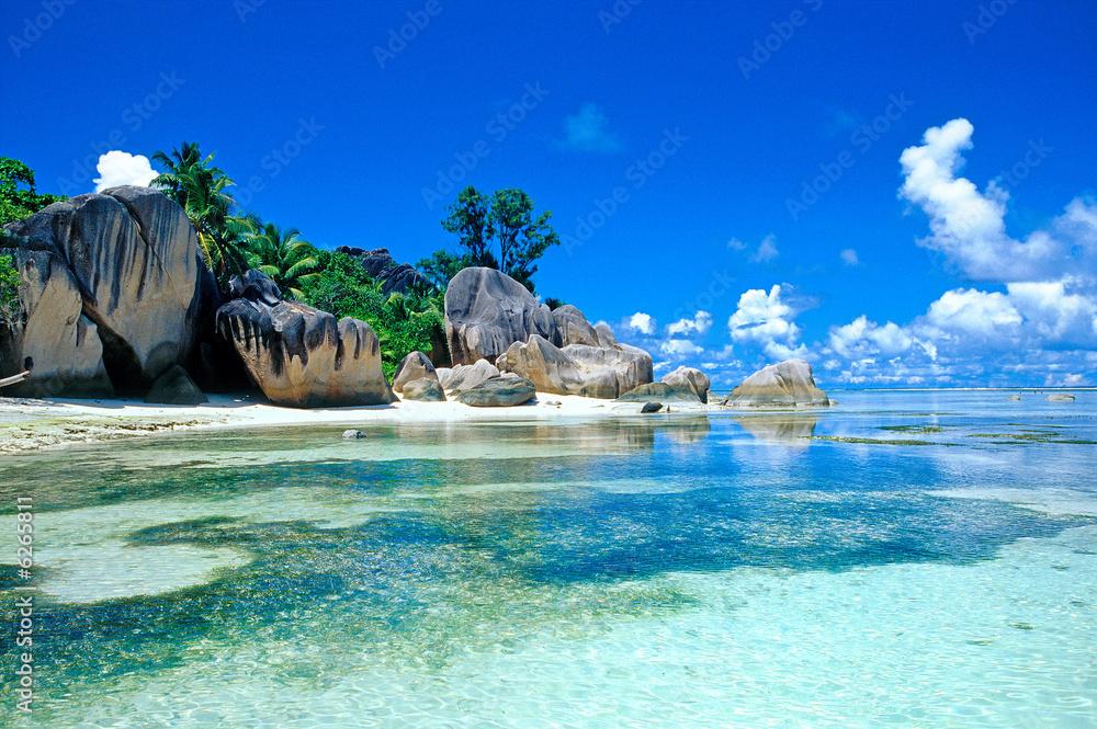Leinwandbild Motiv - Pat on stock : plage des seychelles
