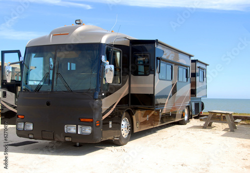 Motorhome camping on beach