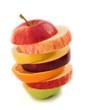 Sliced fruits (lemon, orange & apple) isolated on white.