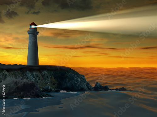 Foto-Schiebegardine Komplettsystem - Guiding beacon from a lighthouse. Digital illustration.