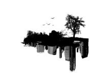 Nature Versus City. Vector Art.