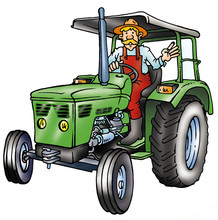 Older FARMER With Hat ON A  Green TRACTOR
