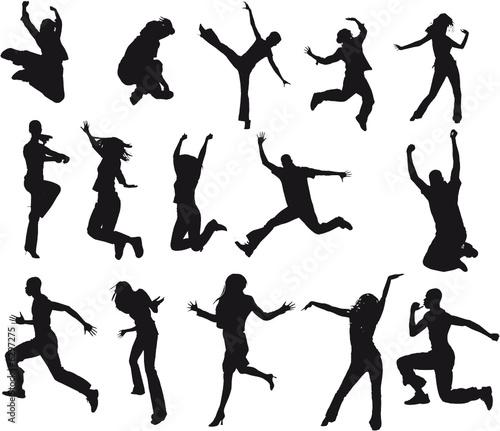 Fototapeta silhouettes adultes homme et femme en mouvement obraz