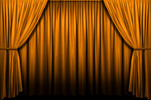 Gold Stage Curtain With Light And Shadows