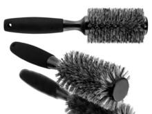 Black Hairbrush Set Isolated On White Background