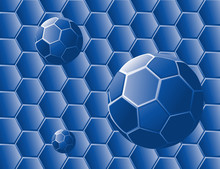 Absstract With Blue Geometric Shapes And Spheres